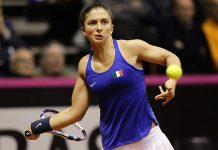 Sara Errani in azione in Fed Cup (foto Fostantini)