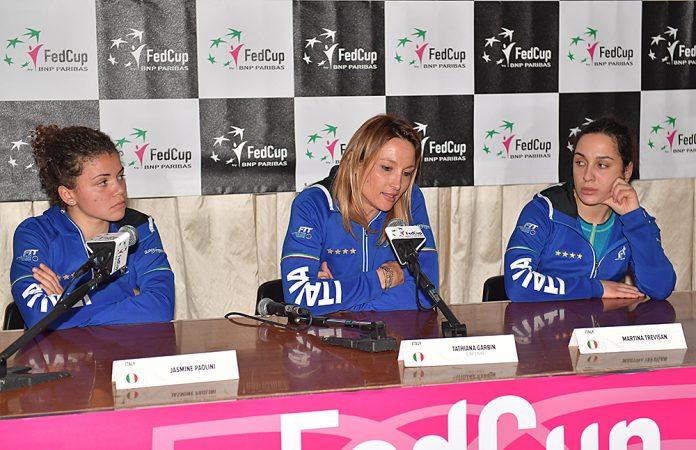 Garbin, Paolini e Trevisan in conferenza stampa (foto Costantini)