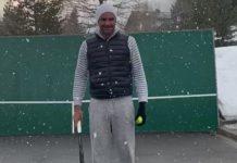 Federer si allena sotto la neve a suon di tweener